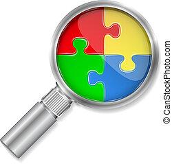 magnifier, quebra-cabeça, círculo