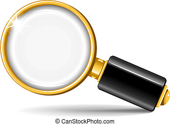 Magnifier - Realistic vector magnifying glass on white...