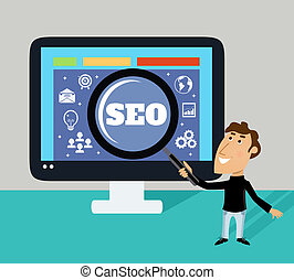 Magnifier SEO concept - Business life employee with...