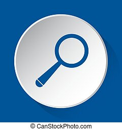 magnifier - simple blue icon on white button