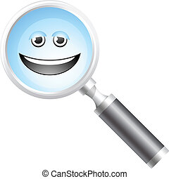 magnifier, sorrindo