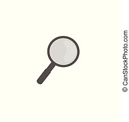 Magnifier vector icon, information search.
