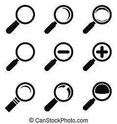 magnifier, vidro, ícones