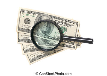 Magnifier with dollars