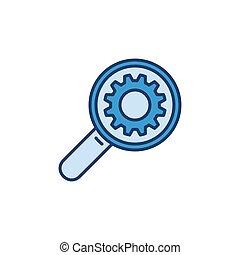 Magnifier with Gear creative icon - vector concept symbol