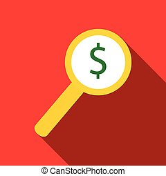 Magnifier with increase money icon, flat style
