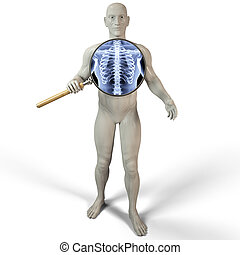 magnifier x-ray - man shines his chest x-rays through a...