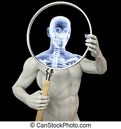 magnifier x-ray - man shines his legs x-rays through a...