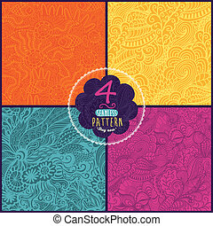 magnifique, arrière-plan., utilisé, fond, toile, modèle, page, hand-drawn, seamless, ensemble, vecteur, être, boîte, quatre, textures., modèle, fond, vagues, floral, surface, papier peint, remplit