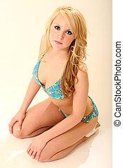 magnifique, blond, maillot de bain, modèle