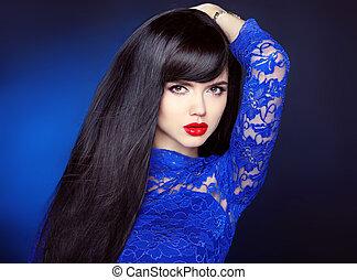 magnifique, coiffure, mode, sain, directement, maquillage, sombre, lèvres, femme, sensuelles, hair., portrait, rouges