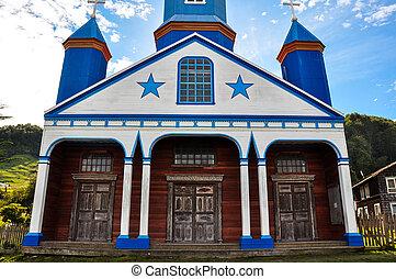magnifique, coloré, et, bois, églises, chiloé, île, chili