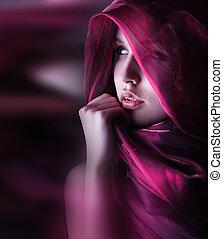 magnifique, femme, à, pourpre, couleur, écharpe