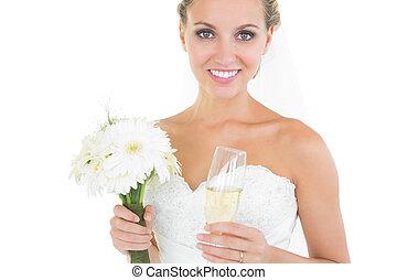 magnifique, mariée, tenir bouquet, et, a, verre champagne