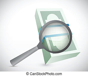 magnify and search for money. illustration
