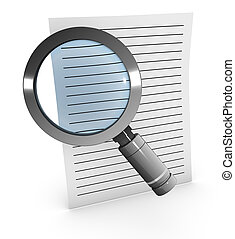 Magnify glass and paper