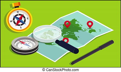 magnify glass, compass to find a world map