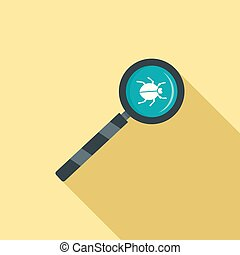 Magnify glass computer virus icon, flat style