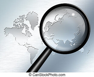 Magnify Glass focus on Asia