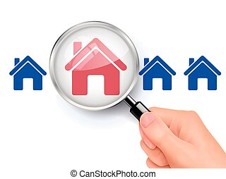 magnify glass of house - 3D illustration of magnifying glass...