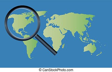 magnify glass on a world map