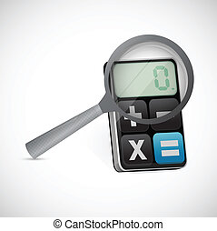 magnify glass over a calculator. illustration