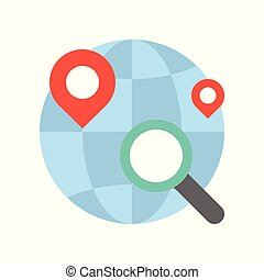 Magnify glass , pin location and globe, searching for shop or store location, flat design icon