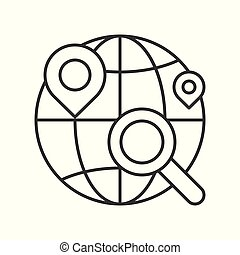 Magnify glass , pin location and globe, searching for shop or store location, line design icon