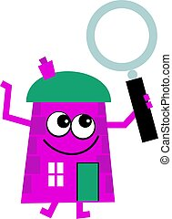 magnify house - Mr house holding a magnifying glass isolated...