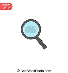 Magnify icon. Modern flat pictogram. Magnifying glass sign. Search icon isolated on background. Simple vector symbol for web site design or button to mobile app.