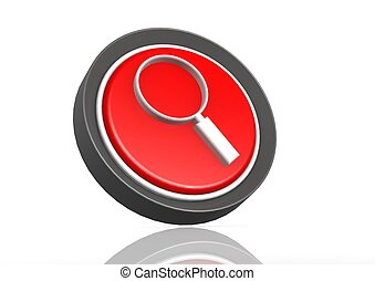 Magnify round icon in red