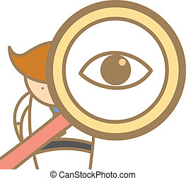magnifyer, karakter, grondig, gebruik, spotprent, man