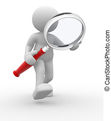 Magnifying glass - 3d people - man, person with magnifying ...