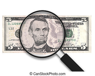 Magnifying Glass - 5 US Dollars - Magnifying Glass with 5 US...