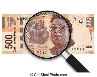 Magnifying Glass with 500 Pesos Note on white background