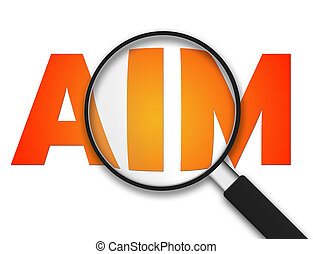 Magnifying Glass - Aim - Magnifying Glass with the word aim...