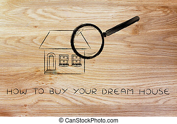 magnifying glass analyzing a home, how to buy your dream house