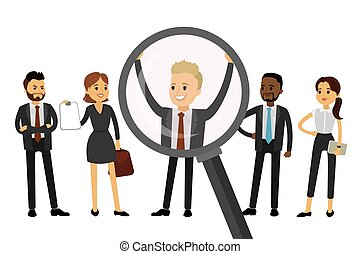 Magnifying glass and candidates for the job,