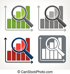Magnifying glass and chart color icons