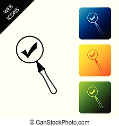 Magnifying glass and check mark icon isolated. Magnifying glass and approved, confirm, done, tick, completed symbol. Set icons colorful square buttons. Vector Illustration