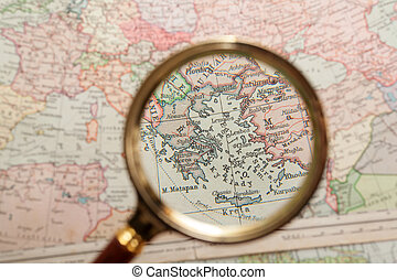 Magnifying glass and map