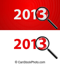 Magnifying glass and New Year