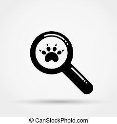 Magnifying glass and paw print.
