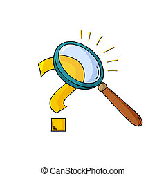 Magnifying glass and question