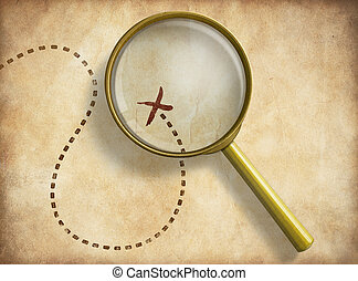 Magnifying glass and track with marked location on old map. Path finding concept.