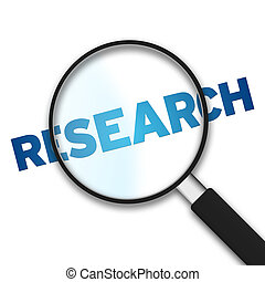 Magnifying Glass with the word research on white background.