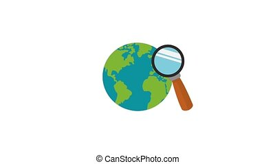 Magnifying glass and world HD animation