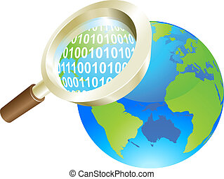 Magnifying glass binary data world globe concept
