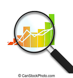 Magnifying Glass with Financial Business Graph on white background