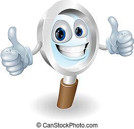 Magnifying glass cartoon character